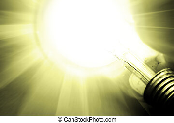 Background with lit lightbulb. Modern look.