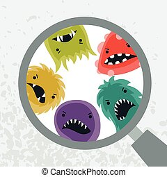 Background with little angry viruses and magnifier. -...