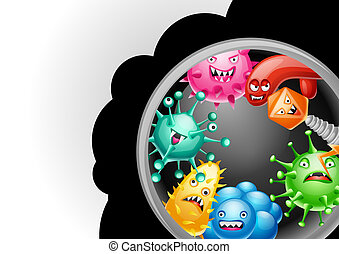 Background with little angry viruses.