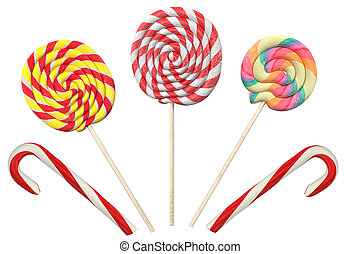 background with lollipops, isolated on white, 3d