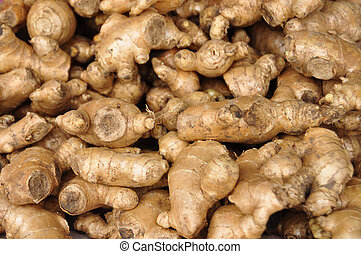 background with lots of ginger roots