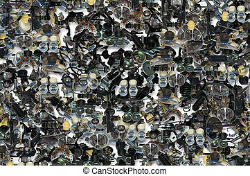 Background with many spare parts for car