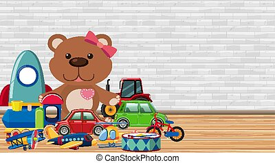 Background with many toys on the floor