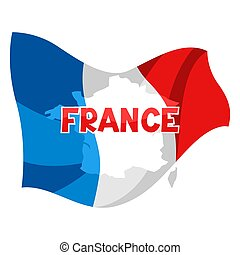 Background with map and flag of France.
