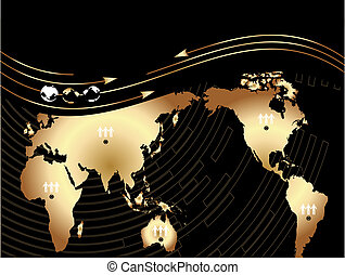 Vector Background with a map of the world, wave and globe