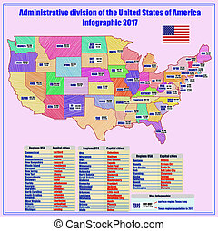 Background with map of USA and regions.