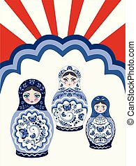 Background with matryoshka dolls - Poster with traditional...