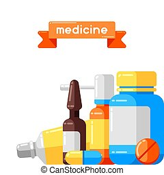 Background with medicine bottles and pills.