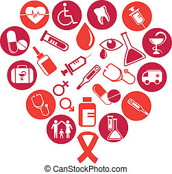 background with medicine icons and elements - collection of...