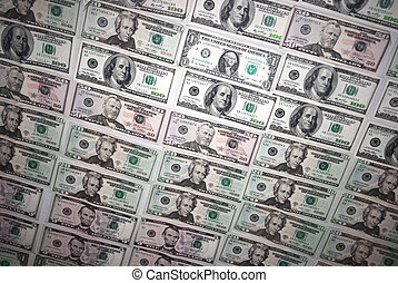 Background with mess of american dollar bills