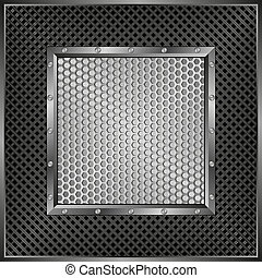 background with metallic frame and grate texture