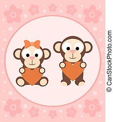 Background with monkeys cartoon
