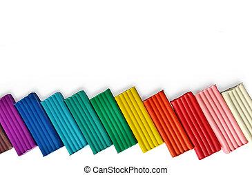 Background with mufti-colored Plasticine bars