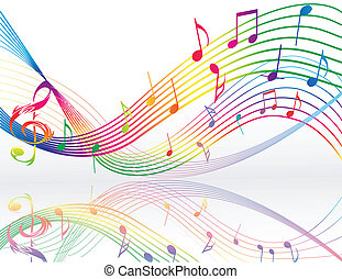 Background with music notes - Background with colored music...