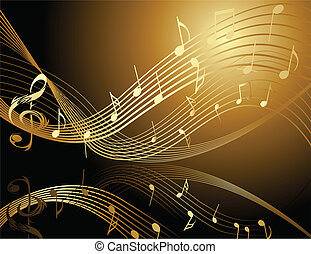 Background with music notes - Background with music gold...
