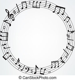 music notes border - Background with music notes border