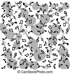 Background with musical notes and violins