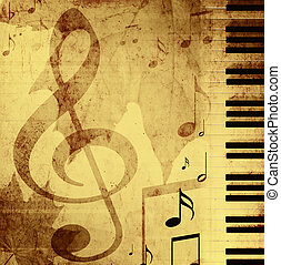 Background with musical symbols - Background in retro -...