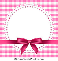 background with napkin and ribbon - Vector chequered...