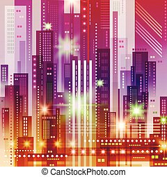 Background with Night City. Vector futuristic illustration