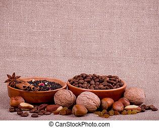 nuts, raisin, cinnamon, tea