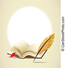 Background with old book and feather, vector
