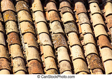 Background with old tiles on a roof