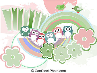 Background with owl, flowers and birds, raster