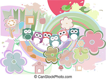 Background with owl, flowers and birds,
