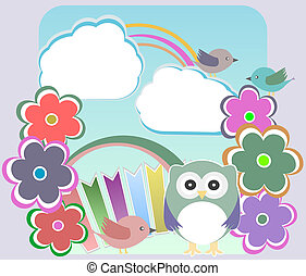 Background with owl, flowers birds and clouds