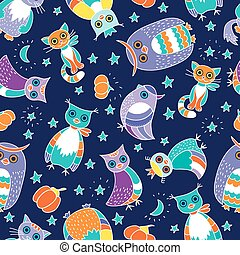 Background with owls and cats