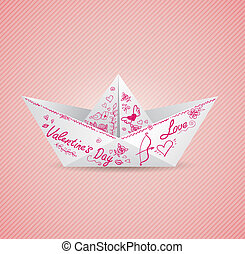 Background with paper boat