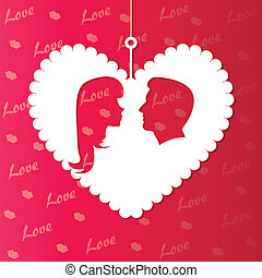 background with paper hearts and lover's silhouette