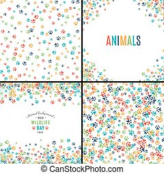 Background with paw prints. Set of patterns