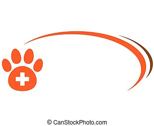background with paw - background with red paw, veterinarian...