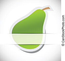 Green pear on gray background. Ecology concept