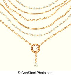 Background with pears and chains golden metallic necklace. On white