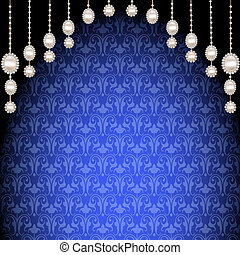 background with pendants of pearls and ornaments -...