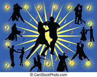 Background with people dancing - vector