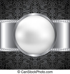 Background with perl and silver frame