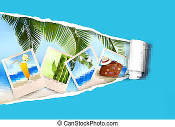 Background with photos from holidays on a seaside and ripped paper  Summer holidays concept  Vector
