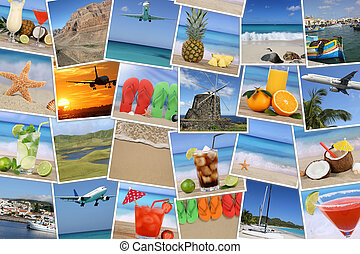 Background with photos from summer vacation, beach, holiday and sea