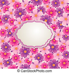 Background with pink and violet flowers - Decorative vector...