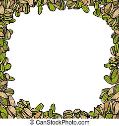 Background with pistachio. Vector hand drawn illustration.