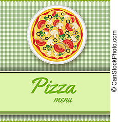 Background with pizza - Menu template for pizza restaurant...