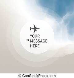 Background with Place for Text. Abstract Background with Blue Sky and Clouds. Vector Illustration with Airplane. Circle with Place for Text.