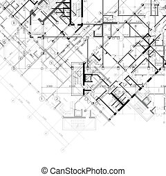 Background with plans of building