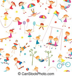 Background with playing children