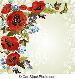 Background with poppies - Beautiful background with poppies...