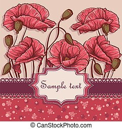 Background with poppies for your text
